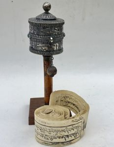 An silver Prayer Wheel with Mantra - Tibet - early 20th century