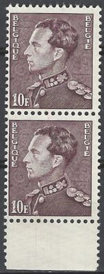 "Belgium 1951 - Leopold III type Poortman 10F brown violet in horizontal pair (stamps 38 and 48 from plate 4) with engraving flaw ""20F below 10F"" - OBP No. 848Aa Cu"