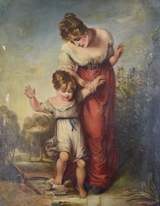 North European school (early 19th century) A portrait of a mother with child..