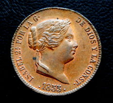 Spain - Isabel II - 25 cents of real - 1855 - Segovia Mint