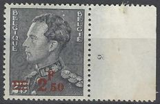 Belgium 1938 - Leopold III, type Poortman with overprint 2.50F on 2.45F and plate number 2 - OBP no. 478