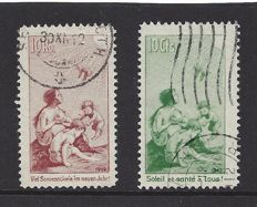 Switzerland 1912 - Pro Juventute - precursor with German and French text - Michel I and II
