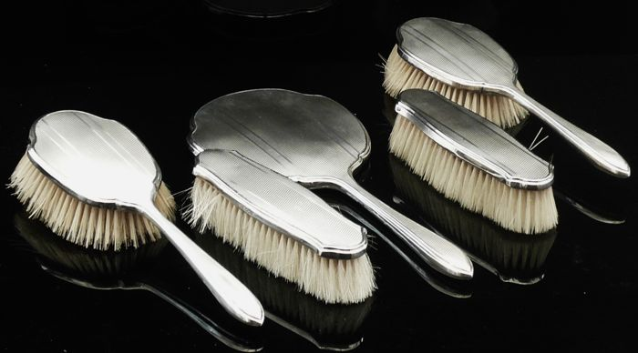 Five Piece Silver Grooming Set, Brushes & Mirror - Walker & Hall - Sheffield - 1930
