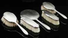 5 Piece Silver Grooming Set, Brushes & Mirror, Sheffield 1930, Walker & Hall