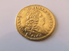 Portugal - D.João V (1706-1750) - Gold Meio Escudo (800 Reis) 1744 - Extremely Fine and Extremely Rare in that Condition