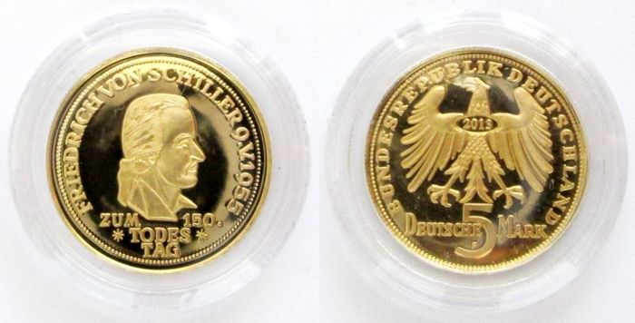 Germany - medallion 5 DM Schiller - 1/10 oz gold