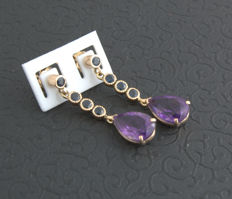 earrings with  sapphire+Amethyst ***no reserve price***