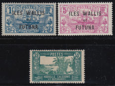Wallis and Futuna, 1924/1938 - variants without value 1 f., 50 and 3 f, 35 c with overprint - Yvert n° 36a, 37a, 51 Aa