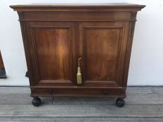 English oak wood two-door cabinet with a drawer at the bottom, 20th century