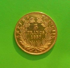 France - 5 Francs 1857 A (Paris) - Napoleon III - Gold