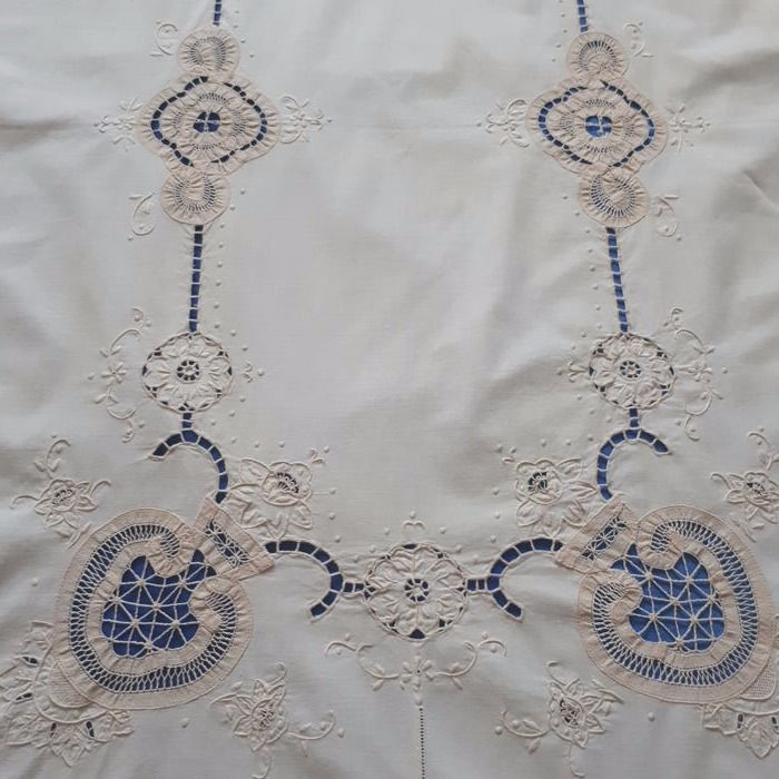 Gorgeous hand embroidered tablecloth. Italy.