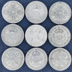 United Kingdom - Florins (Two Shillings) 1921/1945 George V and VI (9 pieces) - silver