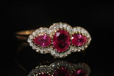 14 kt gold ring set with natural rubies and diamonds, size 6.5 US