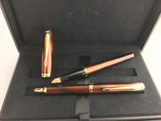 Parker Eclipse fountain pen + ball pen, New Old Stock 18 carat gold pen point