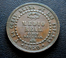 Spain – Isabel II – 1/2 real from the year 1850, Segovia Mint.