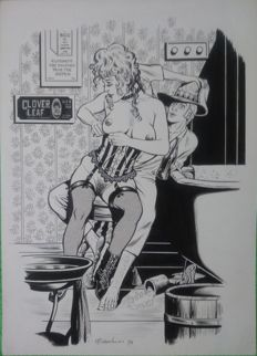 "Bianchini, Marco - original plate for unpublished comic book ""Kerry il Trapper e Prostituta"" (1983)"
