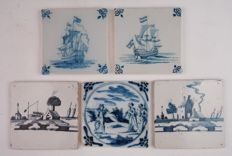Lot of five tiles; two ships, two houses, a bible scene