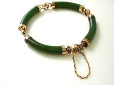 Genuine Jade dark green with gold plated silver Chinese motif wrist bracelet, vintage (1960's)