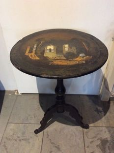 With mother of pearl inlaid tea table, to be restored, circa 1830.
