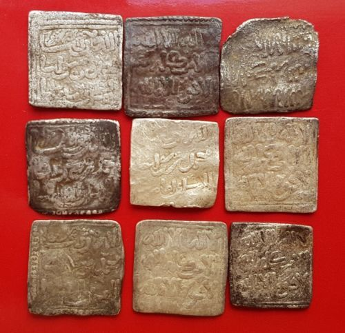Spain – Lot of 9 Almohad square dirham, anonymous and without mint (1148-1228)