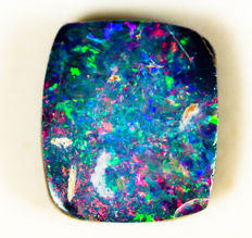 Red Blue Green Opal Doublet  - 8.72 x 7.59 nx 2.59 mm - 1.71 ct