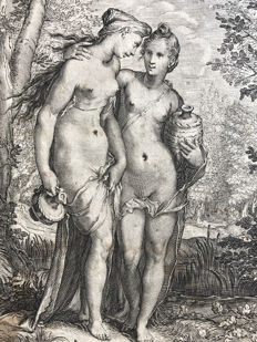 Jan Saenredam (1565-1607). Two Nymphs Carring Vases, c. 1600
