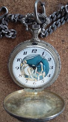 Pocket watch with erotic scene - 1970s