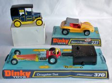 Dinky Toys - Scale 1/32-1/43 - Beach Buggy No.227, Dragster set No.370 and U.B. Taxi No.115