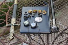 Masonic collection items: dagger-walking stick-cuff links -men's rings - watches - coin - total 13 items