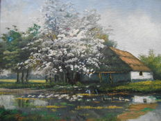 Unknown (20th century) - Bloesem langs rivier
