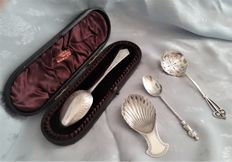 A lot of four antique sterling silver flatware, various hallmarks, most of the Victorian era