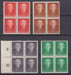 The Netherlands 1949/1951 - Queen Juliana 'En Face' - NVPH 522, 525, 530 and 531 in blocks of four
