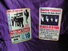 Two Stunning Metall Memorial Signs- Rolling Stones and The Beatles in Concert.