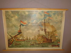 "Beautiful intact old history school poster with VOC ships by Isings on linen with the title ""court martial for the four days battle 1666"""