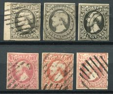Luxemburg 1852 - First Issue including color varieties - Yvert 1, 2