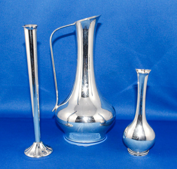 3 Heavy silver plated vases - Italy - 1930