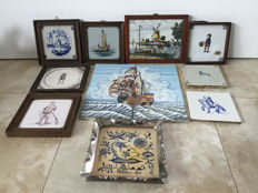 Collections of 13 old and antique tiles