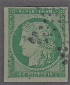 France 1850 - 15c green star cancellation - Yvert 2