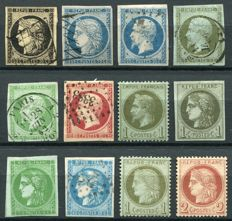 France 1849/72 - Selection of Classical Stamps - Yvert no. 3, 4, 15, 11, 12, 17, 25, 39, 42, 46, 50, 51