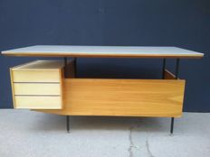 Unknown designer - desk with light blue opaline glass top and side drawer chest