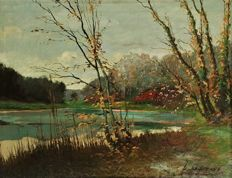 Louis GAROT  (he works early 20th century - Belgique) - Etang en automne