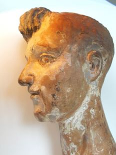 Medieval terracotta head of Saint Anthony - France - 17th century