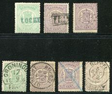 The Netherlands 1869/71 - Composition of stamps with coats of arms, with various cancellations