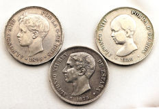 Spain - Alfonso XII and XIII - Lot of 5 silver pesetas - 1875, 1888 MPM, 1896 - Madrid