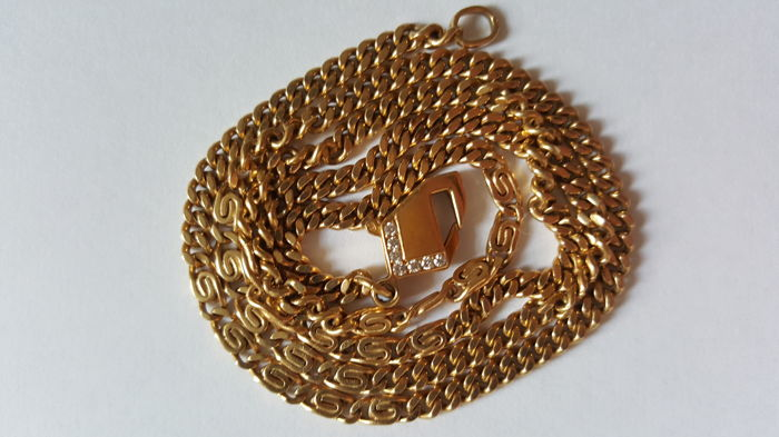 14 kt yellow gold necklace with lobster clasp, with diamonds (Wesselton (H)/VS), necklace length:  52.7 cm