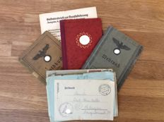 Soldier letters, military service pass, Member book, pay book, military mail