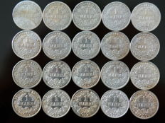 German Empire – 20 x 1 mark from 1875 to 1915 A, D, E, F – silver