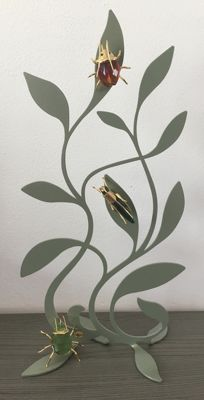 Swarovski display tree insects, with 3 insects