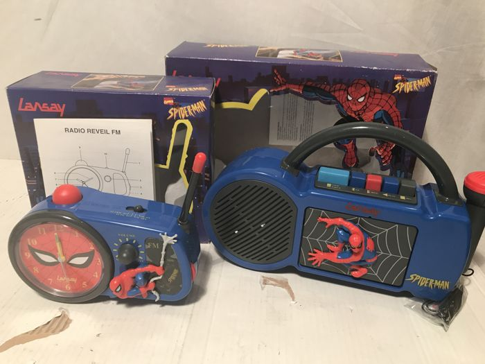 Spider-Man Oldskool Cassette Player and recorder (Sing-a-Long) plus Clock Radio 1996