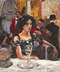 Anke Brokstra (1940-) - Chique dame in restaurant in haar couture jurk